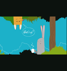 Cute banner with rabbit vector