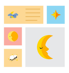 Flat icon bedtime set of midnight moon night and vector