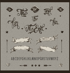 Set of vintage hipster ribbon arrow alphabet vector