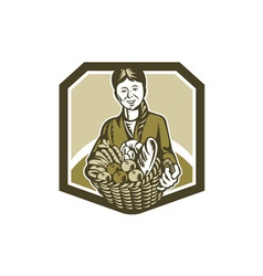 Female organic farmer crop harvest woodcut vector