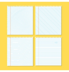 Four different pieces of paper on a yellow vector