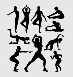 Aerobic women fitness sport silhouettes vector