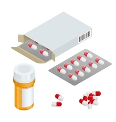 Modern pill bottle for pills or capsules isolated vector