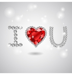 abstract heart card on white vector image