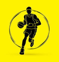 basketball player running front view vector image vector image