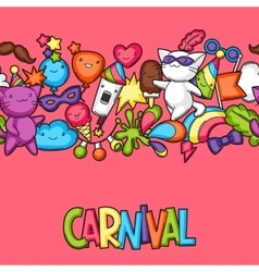 Carnival party kawaii seamless pattern cute cats vector