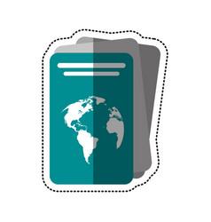 Cartoon passport document identification icon vector