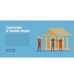 Construction of wooden house web banner vector