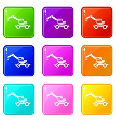 Crane truck set 9 vector