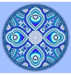 Decorative design of blue circle dish floral vector