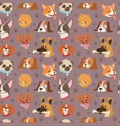 dogs cute pets heads avatar face seamless pattern vector image vector image