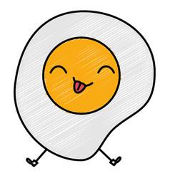 Egg fried kawaii character vector
