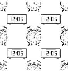 electronic watch and alarm clock black and white vector image