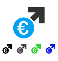Euro growth flat icon vector