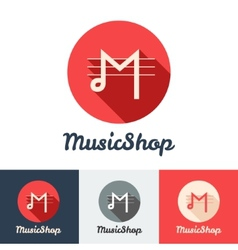 flat modern minimalistic music shop or studio logo vector image vector image