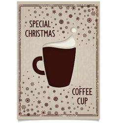 Fun vintage christmas dark coffee cup vector