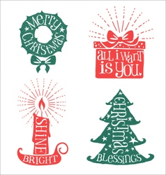 Hand drawn christmas typography designs vector