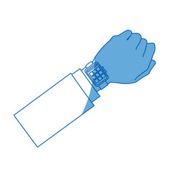 Hand man with smart watch wearable technology vector