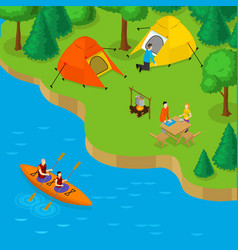 Isometric camping and active recreation concept vector