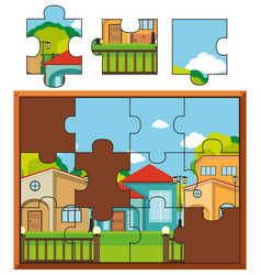 jigsaw puzzle pieces of village with many houses vector image