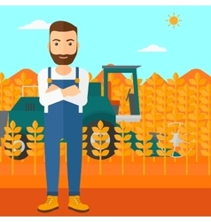 Man standing with combine on background vector