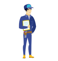 mechanic holding clipboard with papers vector image vector image