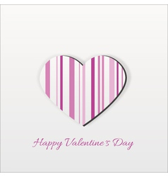 Modern Pink Striped Valentine Heart vector image