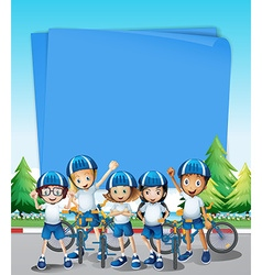 Paper design with kids riding bike vector
