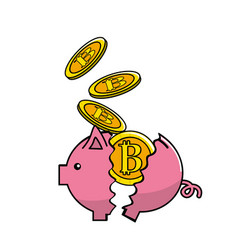 Pig broken with bitcoin currency inside vector