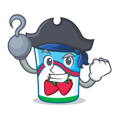 Pirate yogurt character cartoon style vector