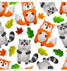 racoons and foxes vector image