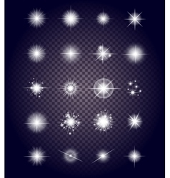 Set glows bright star light fireworks vector