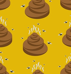 Shit isometric seamless pattern turd and fly vector