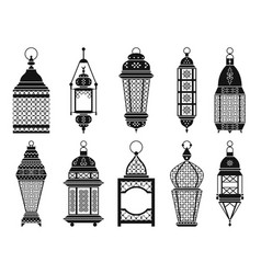 silhouette of vintage arabic lanterns and vector image vector image