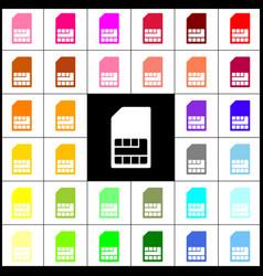 Sim card sign felt-pen 33 colorful icons vector