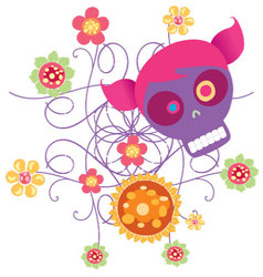 skull with flowers 2 vector image vector image