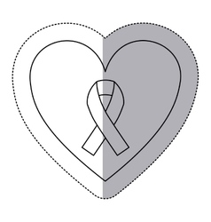 Sticker silhouette of heart with ribbon symbol of vector