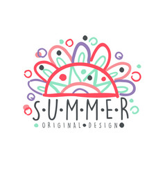 summer logo template original design colorful vector image