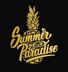 Summer paradise hand drawn lettering phrase on vector
