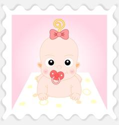 Sweet Cartoon Baby Girl vector image