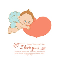 Valentines Day greeting card with angel vector image vector image