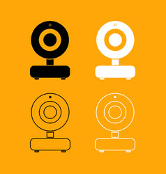web camera black and white set icon vector image vector image