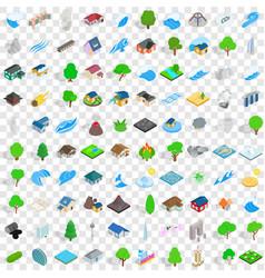 100 landscape element icons set isometric style vector