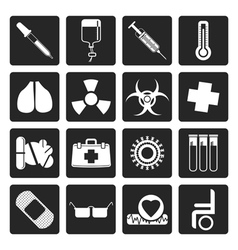 Black collection of medical themed icons vector image