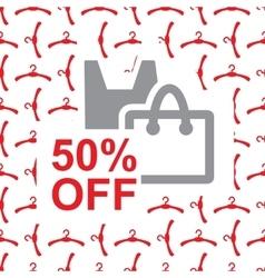 50 percent off text on bag design vector