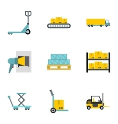 Cargo packing icons set flat style vector