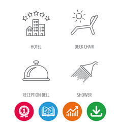 Hotel shower and beach deck chair icons vector