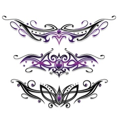 Tribal set purple black vector