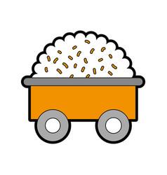 Farm wagon with straw vector
