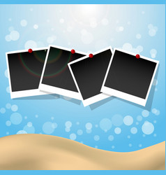 Photo frames with push pins summer presentation vector